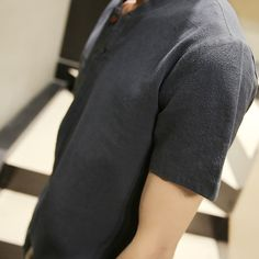 Linen Fabric V Neck t Shirts For Men Short Sleeve 2017 Summer Henley shirt breathable Black White ventilat t Shirt 5XL 6 Color
