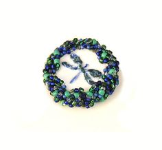 Statement Brooch Sparkling Beaded Pottery Dragonfly Blue Green White on Etsy, $36.99 CAD