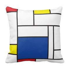 Shop Mondrian Minimalist De Stijl Modern Art Custom Cushion created by fat_fa_tin. Piet Mondrian, Bauhaus, Scatter Cushions, Throw Pillows, Custom Cushions, Abstract Words, Silk Painting, Geometric Shapes, Primary Colors