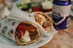 Greek Gyro and a FIX beer in Mykonos from The famous Jimmy's - one of the best Greek takeaway food out there!