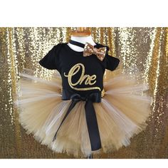 "Black and Gold First Birthday Outfit, Gold Outfit, Gold Baby Girl, Black onesie Gold Tutu ""Soft Gold tutu"" by GABYROBBINSDESIGNS on Etsy"