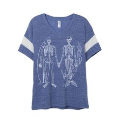 Womens Boho Vintage SKELETON Surfer MERMAID Powder Puff Shirt Trendy Tumblr Tee Top Retro Cotton Fashion Short Sleeve Tshirt S M L XL  4.1 oz.,
