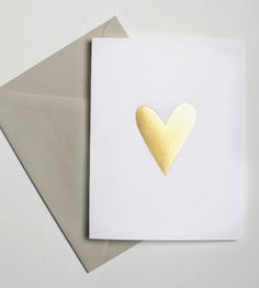 Gold Foil Heart Notecards – Set of 5 by Yes Ma'am Paper + Goods on Scoutmob Shoppe.  One simple, elegant gold foil heart says it all.