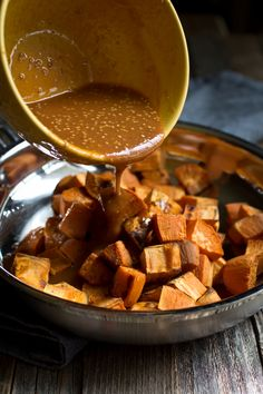 These Miso Glazed Sweet Potatoes are inspired by the True Food Kitchen Ancient Grains bowl. These are easy to make, are sweet, salty, tangy and with a kick of heat. Bonus that my version is oil-free! A couple of weeks ago for my husband and I's 12th anniversary we went to the restaurant, True Food Kitchen. I posted about it