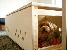 Holz Kaffeetisch Hundebett selber bauen