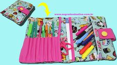 Estojo Escolar Sem Costura Sewing Patterns Free, Free Pattern, Diy Back To School, Bag Organization, Couture, School Supplies, Mini Albums, Diy And Crafts, Projects To Try