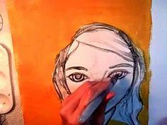 Mixed Media Art Tutorials ~ Dina Wakley Faces - YouTube