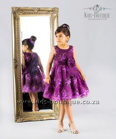 Purple Dress With Gold Flower Patterns