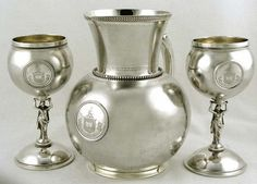 Magnificent Gorham sterling silver pitcher and matching goblets - the set has a globe form and a matte finish, the stem of the goblets are in the form of a classical Graeco-Roman female, c1870 (supershrink)
