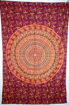 Elephant Mandala Tapestry, Hippie mandala wall hanging, Indian Mandala Tapestry Cotton Mandala Bed Cover, Bohemian Wall Hanging, Bedspread on Etsy, $19.99
