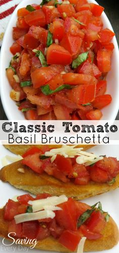 A classic Bruschetta recipe using fresh tomatoes, garlic, olive oil and balsamic vinegar! Serve it as an appetizer or with a cheese plate and a bottle of wine for a snack that is sure to impress your guests!
