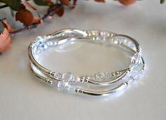 Set of Three Crystal Bangle Bracelets by HeartofGems on Etsy, $24.00