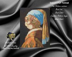 Gat with a Pearl Earring, kitten Bead Peyote pattern, Cat Peyote pattern, Pattern Peyote cat, Cat necklace pattern,  Ariella Zochovitzky