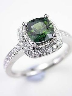 Cushion Cut Green Sapphire Engagement Ring