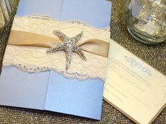SANDY Beach Wedding Invitation - Powder Blue and Ivory Destination Wedding - Lace Starfish