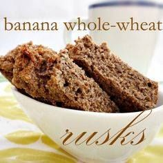 In en om die huis: Banana Whole-Wheat Rusks - Janke Coetzee - African Food Rusk Recipe, Hard Bread, Whole Wheat Banana Bread, Healthy Breakfast Snacks, South African Recipes, Banana Bread Recipes, Cooking Recipes, Healthy Recipes, Healthy Foods