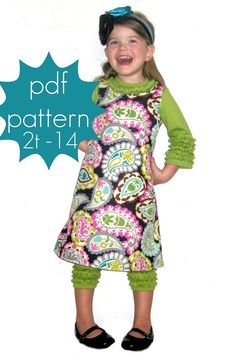 ALine Shift Tunic or Dress  INSTANT download  2t  14 and by jocole, $8.00