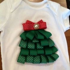 Ribbon Christmas Tree Craft | Ribbon Christmas Tree Onesie | Christmas Crafts