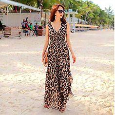 V-cuello del leopardo de Bohemia del tobillo de longitud vestidos de gasa de la Mujer - USD $ 14.99
