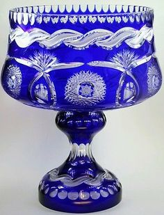 14-25-Imperilux-Cobalt-Blue-24-Lead-Cut-to-Clear-Crystal-Vase-Large-Punch-Bowl