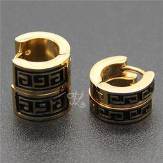 Free Shipping Wholesale Brand New Design Women Girl Stainless Steel Great Wall Pattern Huggie Hoop Earrings