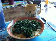 Grits and Kale Breakfast- vegan.  #vegan #breakfast #genkikitty