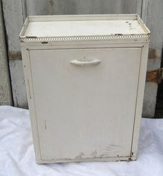 Vintage metal cabinet laundry basket front by MyShabbyChicShop, $75.00