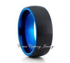 Blue Tungsten Ring Two Tone 8mm Brushed Tungsten Carbide Royal Blue Tungsten Ring Anniversary Ring Engagement Band Unique Blue Ring $211.86