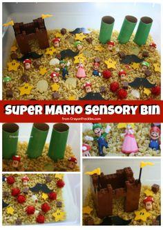 Super Mario Sensory Bin!  Super fun sensory bin to spark imaginative play in older preschooler and school-agers alike!