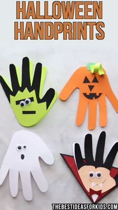 HALLOWEEN CRAFT FOR KIDS: These Halloween Handprints are too cute! These would be adorable to make with your toddler or preschooler for Halloween. art and crafts for kids Halloween Handprints Theme Halloween, Halloween Arts And Crafts, Halloween Crafts For Toddlers, Halloween Tags, Holiday Crafts, Halloween Decorations For Kids, Halloween Crafts For Kindergarten, Halloween Preschool Activities, Halloween Crafts For Kids To Make