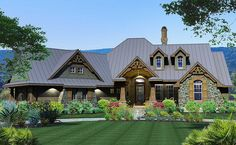 <ul><li>This house plan has the warmth and comfort of a home you'll want to spend a lot of time in. The stunning exterior takes your breath away with a great balance of wood and stone.</li><li>Appointed with a maximum of amenities on the inside from a gourmet kitchen to a formal dining room and two-sided fireplace to the outdoor living areas and barbecue porch, you'll love entertaining in this fabulous home.</li><li>The master suite has access to the rear porch and the split bedroom layout…
