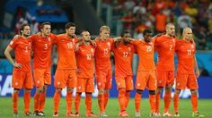 The Netherlands line up for a penalty shootout