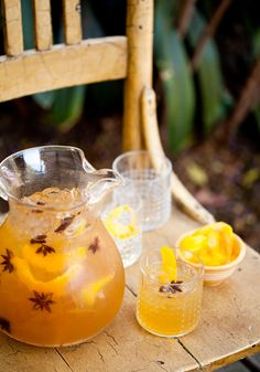 As our wardrobes change from flip flops to socks, fall cocktails typically turn golden brown (just like the leaves!) and pick up some warm spicy notes to keep us toasty. This pretty pitcher drink is a serious sip that captures all of the above. It's a great choice for any fall gathering and it was a perfect match for the menu we planned for The Kitchn's Thanksgiving Dinner Outdoors!