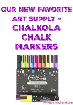 Our New Favorite Art Supply ChalkOla Chalk Markers - Check out 6 reasons why we enjoyed these chalk pens for teachers and kids, find out what we didn't like about the wet wipe markers, and see some of the fun art projects and school work we did with the chalkboard markers. #review #chalkolamarkers #chalkmarkers #chalkboardmarkers