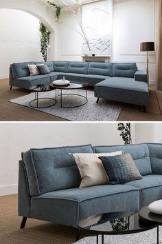 Nordic Living Room, Blue Living Room Decor, Living Room Sofa Design, Home Living Room, Home Interior Design, Interior Styling, Sofa Furniture, Furniture Design, Luxury Homes Dream Houses