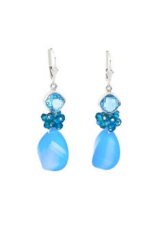 Chalcedony and Blue Topaz Fantasy Drop Earrings