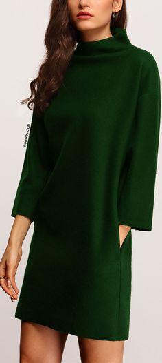 Dark Green High Neck Pockets Dress