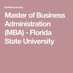 Master of Business Administration (MBA) - Florida State University