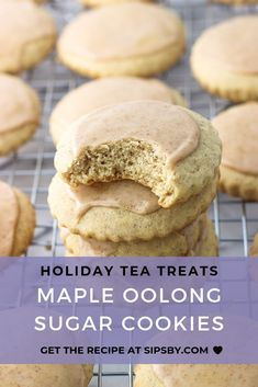 Add some extra flavor to your favorite holiday sugar cookies with maple and oolong tea. Bring them to your next holiday party or fun get together for a delicious and unique treat. Try our maple oolong sugar cookies recipe and more at sipsby.com!  #sipsby #maple #oolongtea #sugarcookies #holiday #tealover Tea Recipes, Fall Recipes, Holiday Recipes, Baking Recipes, Cookie Recipes, Dessert Recipes, Tea Cookies, Sugar Cookies Recipe, Cookies