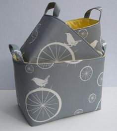 So much cuter than ordinary baskets!  By BaffinBags on etsy