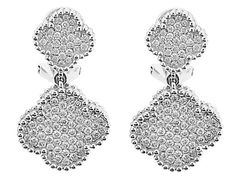 1.37 carats Clover Dangling Earrings with Pavé Set Diamonds Bordered by Beaded Milgrain in 18k White Gold