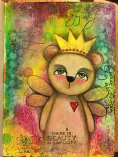 Mixed media art journal page #art #acrylics #artjournal #artjournalling #artjournalpage #bear #dylusionsjournal #journal #layers #mixedmedia #mixedmediaart #paint #pencils #whimsy