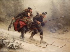 Great vintage painting of Vikings (Probably the Birkebeiners,  2 warriors saving a child prince consequently bringing peace to Norway)