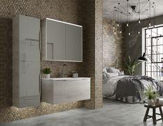 Grey minimalist bathroom furniture from Utopia Bathrooms.