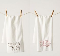 Trace an image onto flour sack towels with a fabric pen to create your own unique dish towels. Loving the pig image. Also a coffee image on this link.