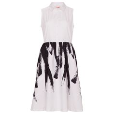 Paint Brush Dress in White and Black - YMC. Now available at: http://the-counter.com/womens/paint-brush-dress-in-white-and-black