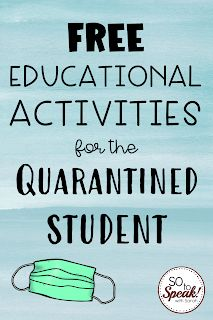 Free Educational Activities for the Quarantined Kid | So to Speak! with Sarah