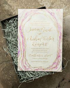 Boho Glam Agate Inspired Wedding Invitations by Atheneum Creative