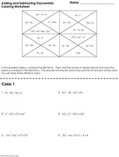 Printables Adding And Subtracting Polynomials Worksheet subtracting polynomials worksheet adding math 1000 images about algebra on pinterest systems of equations worksheet