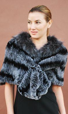 REX RABBIT cape with SILVER FOX collar www.danasteinonline.com